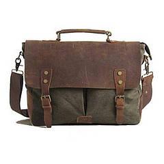 Портфель мужской кожаный винтажный Akarmy хаки