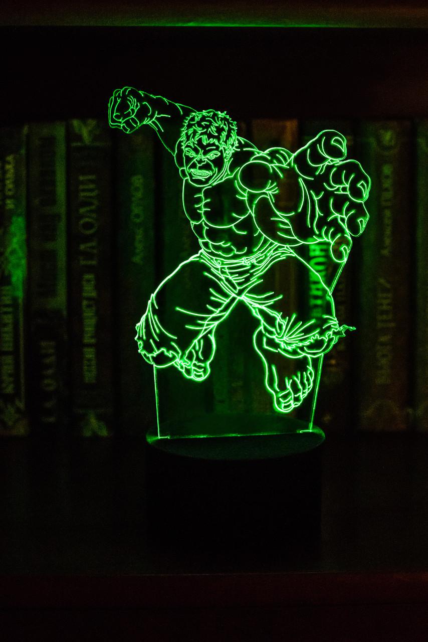 3d-світильник Халк, 3д-нічник, кілька підсвічувань (на пульті)