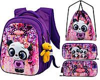 Школьный рюкзак для девочки + брелок игрушка Winner фиолетовый с котиком + пенал+ сумка для обуви R1-001k