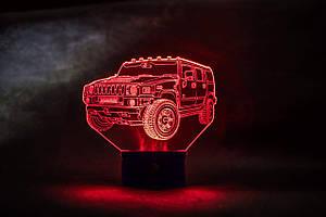 3d-світильник Джип хаммер, Jeep, Hummer, 3д-нічник, кілька підсвічувань (на батарейці)