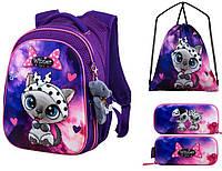 Школьный рюкзак для девочки + брелок игрушка Winner фиолетовый с совой + пенал+ сумка для обуви R1-002k