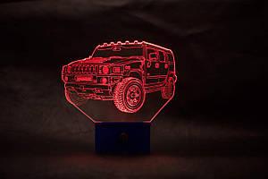 3d-світильник Джип хаммер, Jeep, Hummer, 3д-нічник, кілька підсвічувань (батарейка+220В)