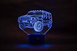 3d-світильник Джип хаммер, Jeep, Hummer, 3д-нічник, кілька підсвічувань (на пульті)