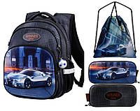 Рюкзак для мальчика Winner черный с машиной + пенал+ сумка для обуви R3-225k