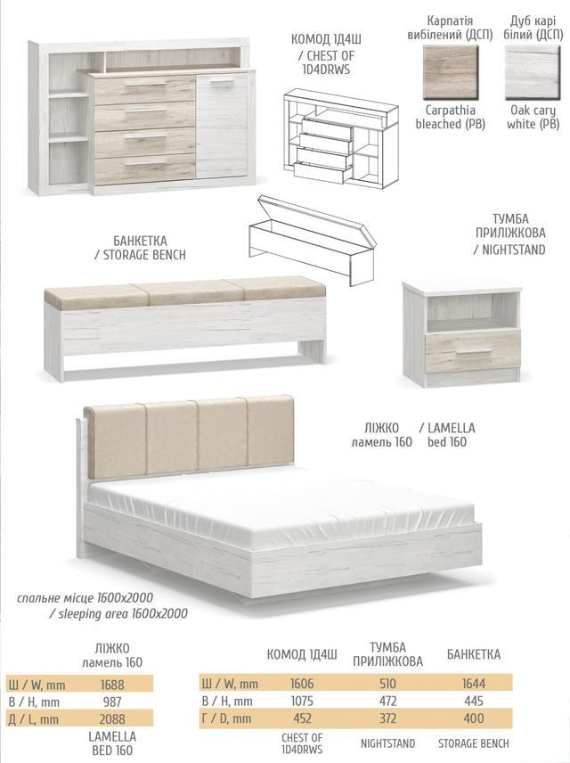 мебель Ким Мебель Сервис (Карпатия отбеленый + Дуб Кари белый)