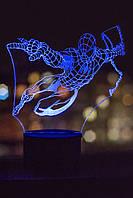 3d-светильник Спайдермен, Человек-паук, 3д-ночник, несколько подсветок (батарейка+220В))