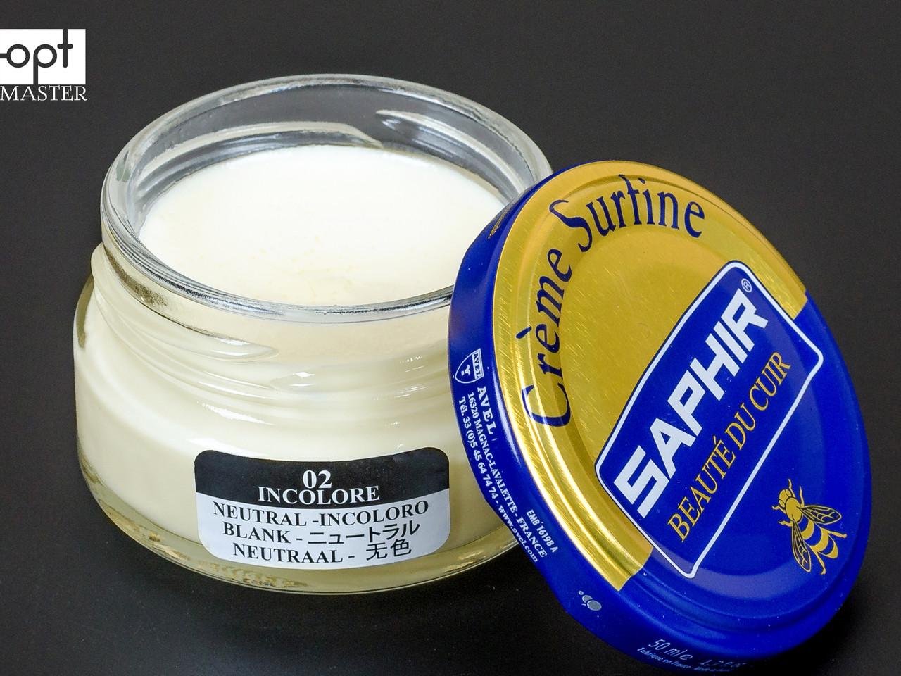 Увлажняющий крем для обуви Saphir Creme Surfine, цв. бесцветный (02), 50 мл (0032)
