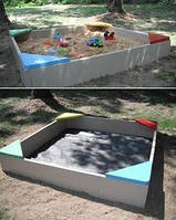Детская деревянная песочница 1000х1000