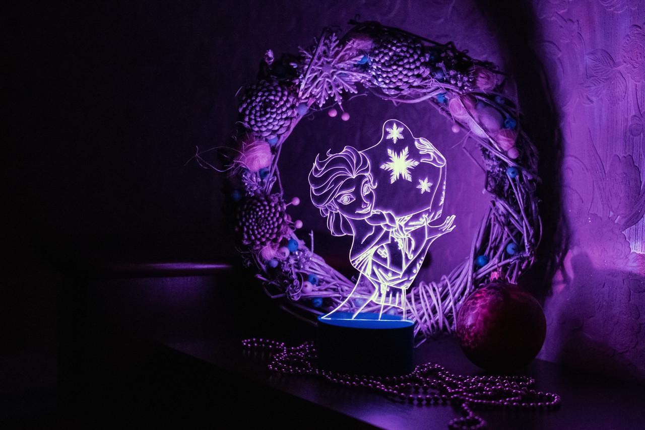 3d-світильник Ельза Frozen, 3д-нічник, кілька підсвічувань (батарейка+220В)