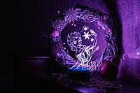 3d-светильник Эльза Frozen, 3д-ночник, несколько подсветок (батарейка+220В)