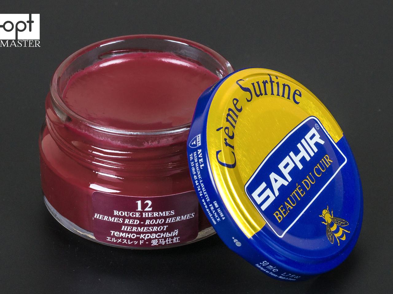Увлажняющий крем для обуви Saphir Creme Surfine, цв. темно-красный (12), 50 мл (0032)