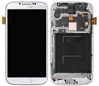 Дисплейный модуль (+ сенсор) для Samsung Galaxy S4 i9500, c передней панелью, белый, оригинал