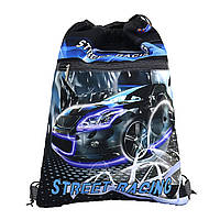 JO-19051 Мешок сумка для сменной обуви с карманом на молнииStreet racing 39*30 см для мальчика