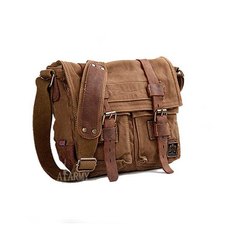 Чоловіча брезентова сумка месенджер Akarmy коричневого кольору