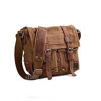Чоловіча брезентова сумка месенджер Akarmy коричневого кольору, фото 1