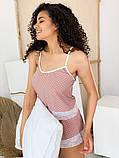 Женская домашняя пижама шелковая с кружевом, в горошек. Норма и батал. Очень уютная и мягкая., фото 2