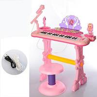 Детское пианино синтезатор со стульчиком арт. 888-20, микрофон, работает от сети, 37 клавиш