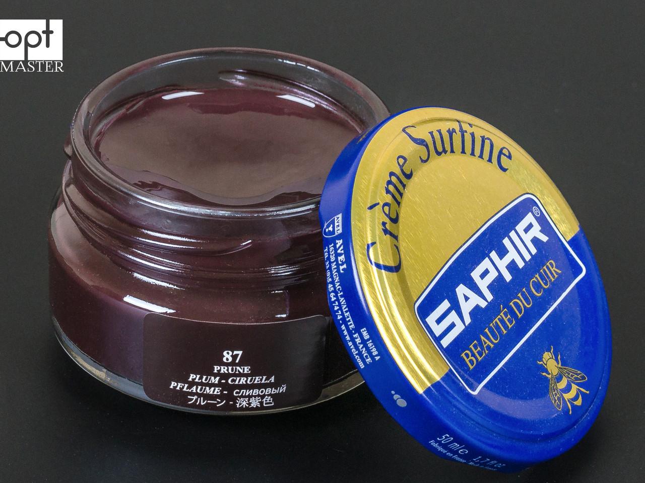 Увлажняющий крем для обуви Saphir Creme Surfine, цв. сливовый (87), 50 мл (0032)