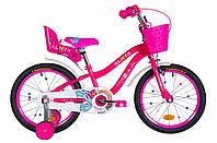 """Велосипед детский для девочек с боковыми колесами Formula Alicia 18"""" малиновый"""