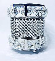 Стакан подставка  для кистей карандашей пилочек серебро