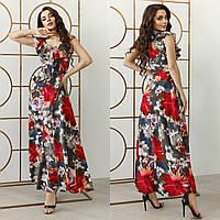 Женское платье макси с цветочным 3-D принтом софт 42-44 44-46 48-50 52-54 56-58