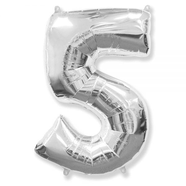 "Фольгована кулька цифра Silver ""5"" ""40"".Flexmetal"