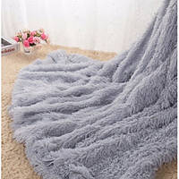 Плед покрывало на кровать меховое Травка Мишка Страус Пушистик 200х220 (евро),в подарок