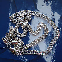 Серебряная цепочка, 600мм, 25 грамм, Бисмарк, светлое серебро, фото 2