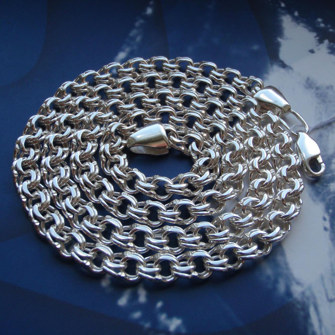 Серебряная цепочка, 600мм, 25 грамм, Бисмарк, светлое серебро