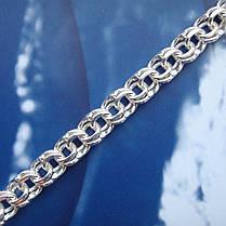 Срібна ланцюжок, 600мм, 25 грам, Бісмарк, світле срібло, фото 2