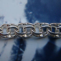 Серебряная цепочка, 600мм, 25 грамм, Бисмарк, светлое серебро, фото 3