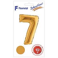 """Фольгована кулька цифра Gold в упаковці """"7"""" 40"""" Flexmetal"""