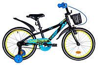 """Велосипед детский с боковыми колесами Formula Stormer 18"""" алюминиевая рама черно-синий"""