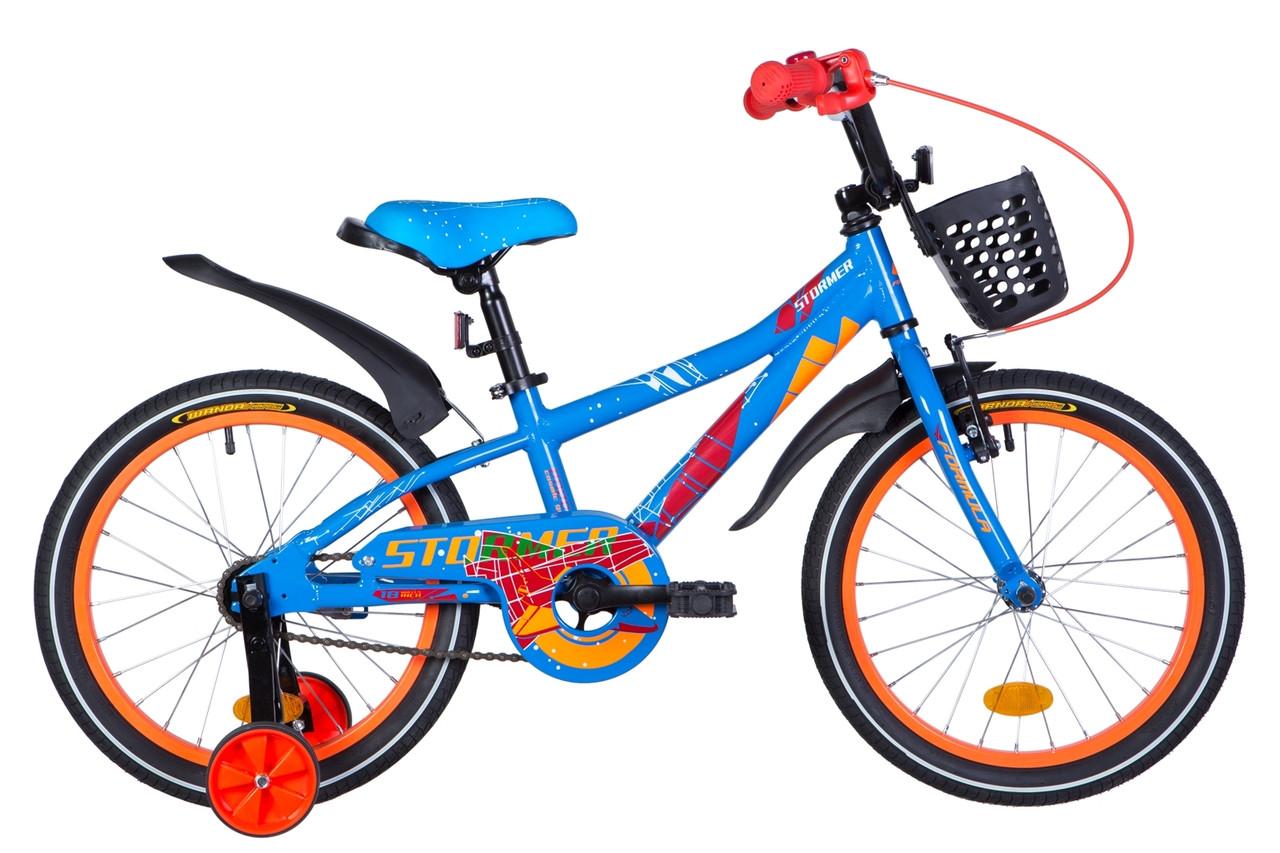 """Велосипед дитячий з бічними колесами Formula Stormer 18"""" алюмінієва рама синьо-помаранчевий"""