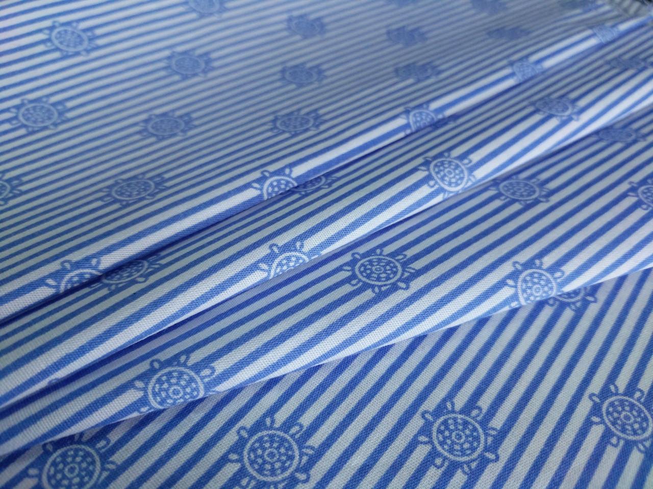 Коттон стрейчевый рубашечный штурвал, голубой