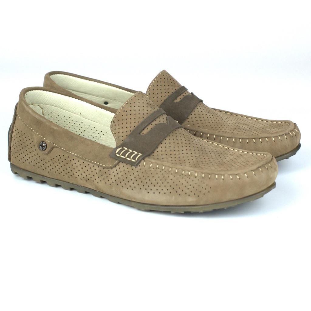 Мокасины бежевые нубук перфорированные мужская обувь летняя Rosso Avangard ETHEREAL Classic Beige Nub