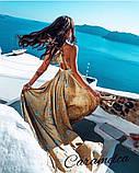 Красивое платье длинное с узором и открытой спинкой, очень мягкое,шелковое платье, фото 2