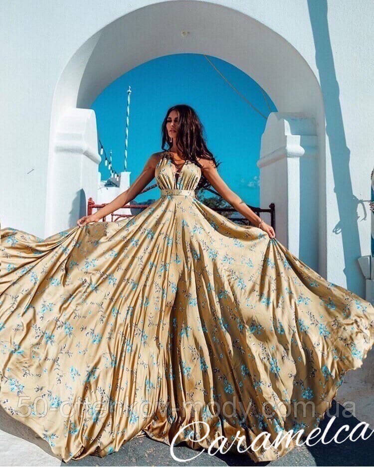 Красивое платье длинное с узором и открытой спинкой, очень мягкое,шелковое платье