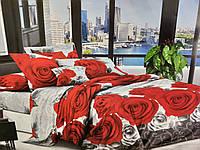 Комплект постельного белья полуторный Бязь хлопок 100% Беларусь 150*215 Красные розы