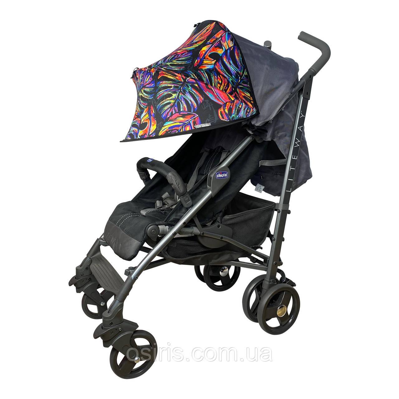 Цветной двойной солнцезащитный козырек для коляски универсальный  Color Twin Shade Тропические листья