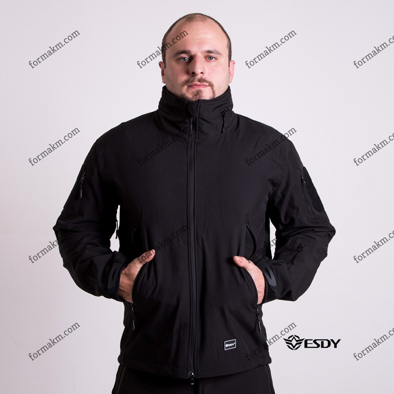 Тактическая Куртка Soft Shell ESDY TAC.-02 Police Black непромокаемая