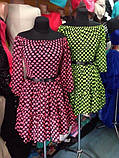 Літній шифонове плаття з відкритими плечима в горошок з пишною спідницею і оборкою Р-н. 42,44 Код 786Д, фото 3