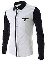 Двухцветная мужская рубашка с длинным рукавом