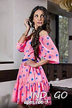 Летнее шифоновое платье с открытыми плечами в горошек с пышной юбкой и оборкой  Р-р.42,44  Код 786Д, фото 4
