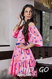 Літній шифонове плаття з відкритими плечима в горошок з пишною спідницею і оборкою Р-н. 42,44 Код 786Д, фото 4