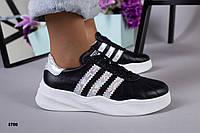 Кроссовки из натуральной кожи черные с серебристыми вставками, фото 1