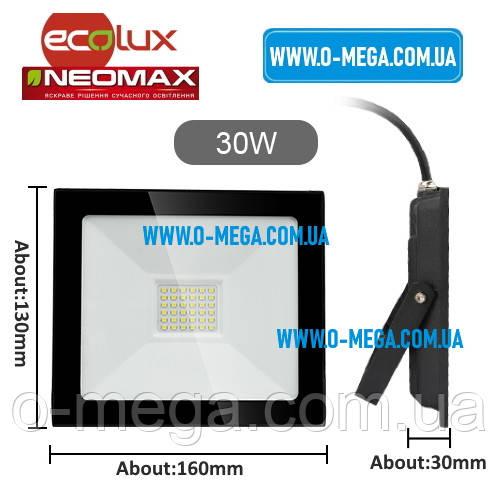 Светодиодный LED-прожектор Neomax (Ecolux) 30W, 220V, 6000K, 2400Lm, IP65