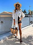 Женская рубашка удлиненная из прошвы белая, фото 3