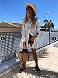 Женская рубашка удлиненная из прошвы белая, фото 4