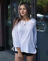 """Вишита блуза гладдю на попліні """"Ластівка"""", фото 1"""